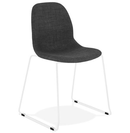 Designstoel 'DISTRIKT' in donkergrijze stof met benen in wit metaal