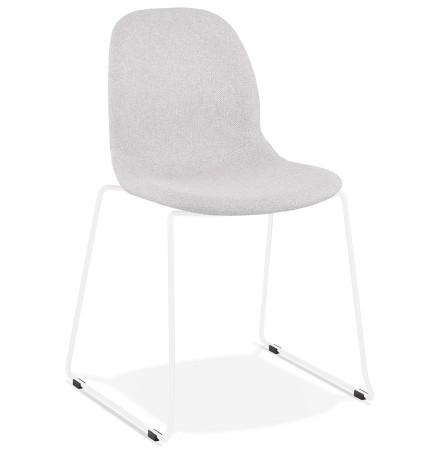Designstoel 'DISTRIKT' in lichtgrijze stof met wit metalen onderstel