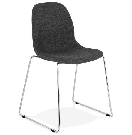 Design stoel 'DISTRIKT' met donkergrijze stof en verchroomd metalen voeten