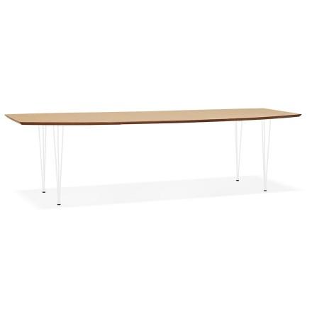 Uitschuifbare eet-/vergadertafel 'DOKIDO' van natuurlijk afgewerkt hout - 170(270)x100 cm