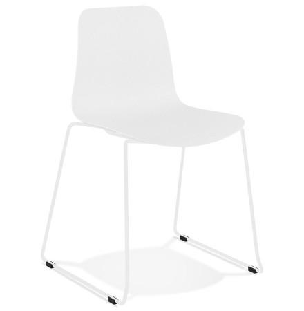 EXPO' moderne witte stoel met witmetalen poten