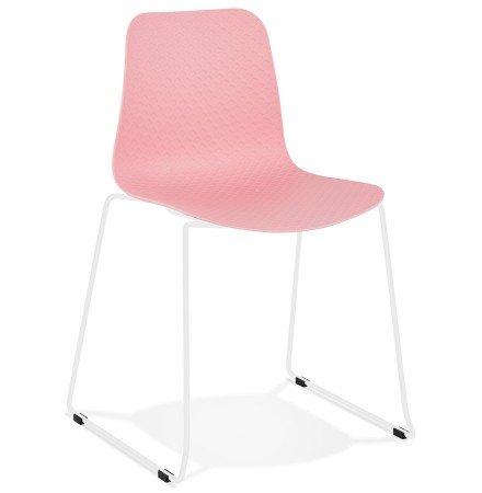 EXPO' moderne roze stoel met benen in wit metaal