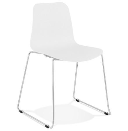 Moderne stoel 'EXPO' van wit kunststof met verchroomd metalen voeten