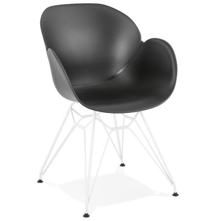 Moderne stoel 'FIDJI' zwart met wit metalen voeten