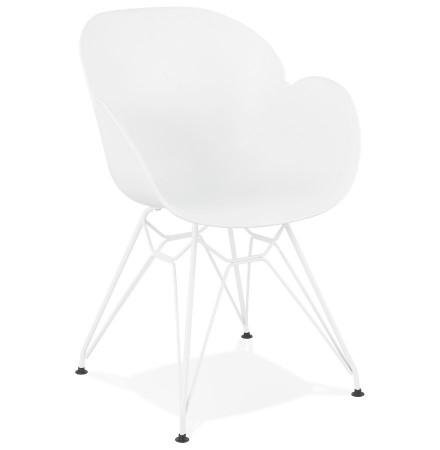 Moderne stoel 'FIDJI' wit met wit metalen voeten