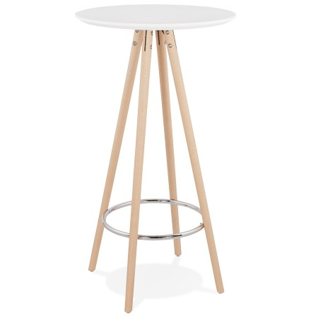 Hoge tafel / Ronde statafel 'GALA' in wit hout en onderstel in natuurlijke afwerking