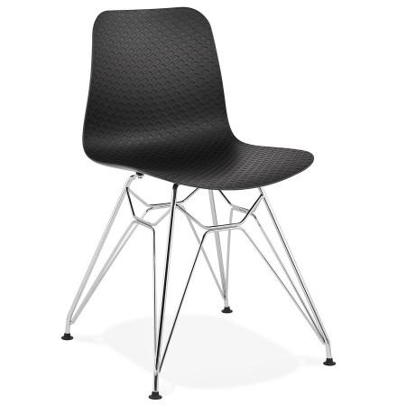 Design stoel 'GAUDY' zwart met verchroomd metalen voet