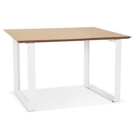 Rechte directiebureau 'GIMINI' van natuurkleurig afgewerkte hout en wit metaal - 130x70 cm