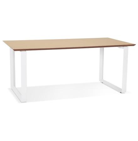 Grote rechte directiebureau 'GIMINI' van natuurkleurig afgewerkte hout en wit metaal - 180x90 cm