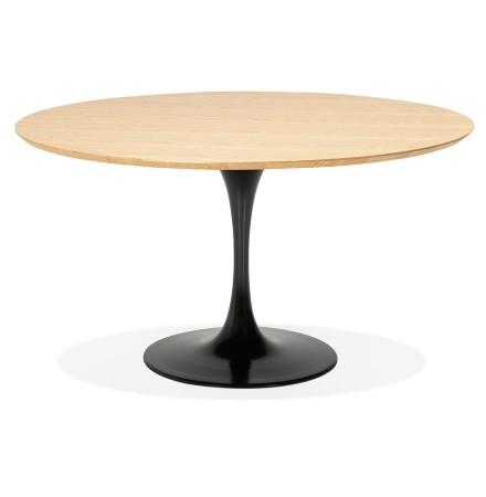 Ronde design eet-/bureautafel 'GLOBO' van natuurkleurig hout met centrale poot van zwart metaal - Ø120 cm