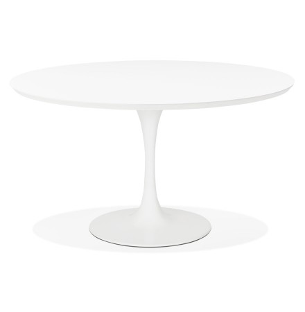 Witte ronde design eet-/bureautafel 'GLOBO' - Ø120 cm