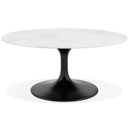 Ronde salontafel 'GOST MINI' van wit glas met marmereffect en centrale zwarte poot