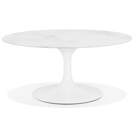 Ronde salontafel 'GOST MINI' van wit glas met marmereffect