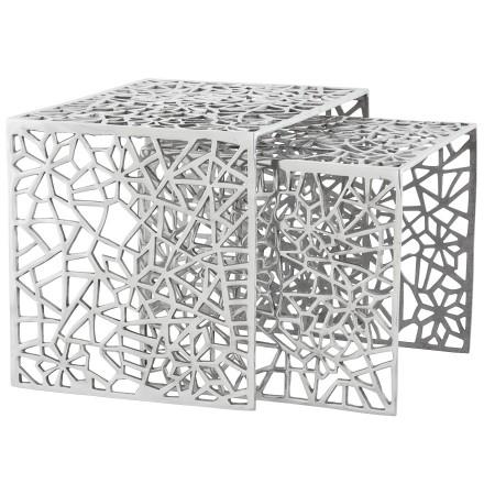 Bijzettafel 'HAKI' in gepolijst aluminium