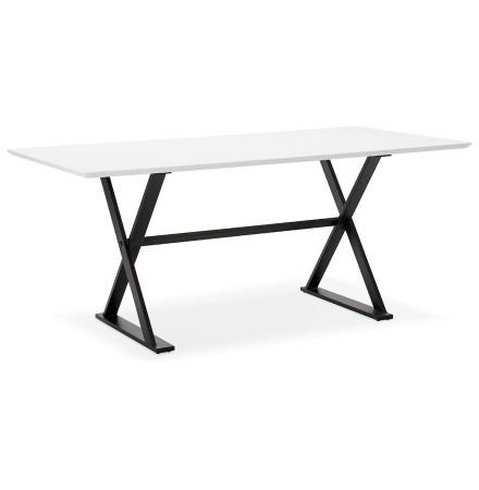 Witte, design eettafel / bureau 'HAVANA' met kruis-vormige voeten - 180x90 cm