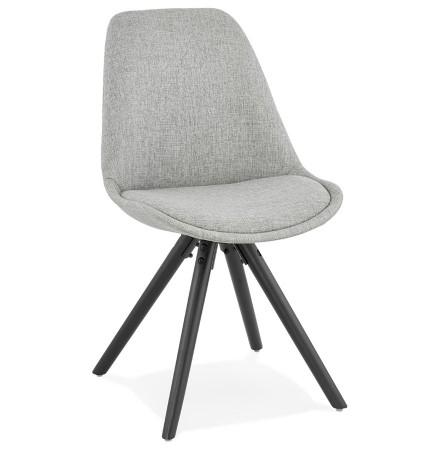Moderne stoel 'HIPHOP' van grijze stof en zwart houten poten