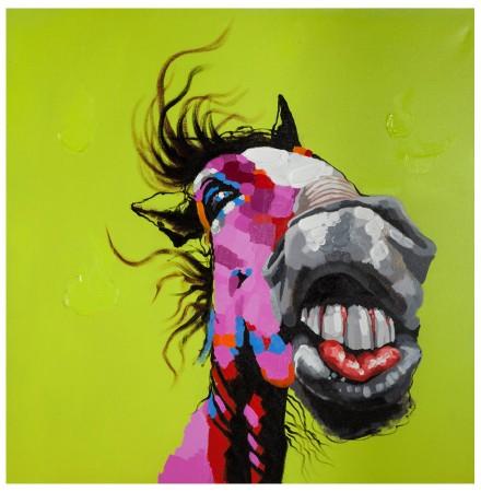 Design schilderij 'HORSE', volledig met de hand geschilderd, 120x120cm