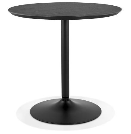Ronde design tafel 'HUSH' van hout en zwart metaal - Ø 80 cm