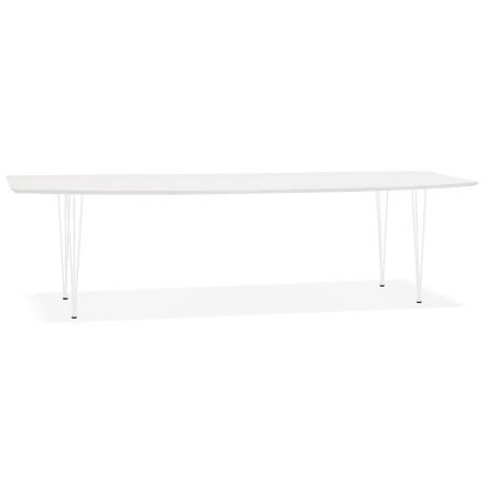 Uitschuifbare witte design eettafel 'HUSKI' met witte metalen poten - 170(270)x100 cm
