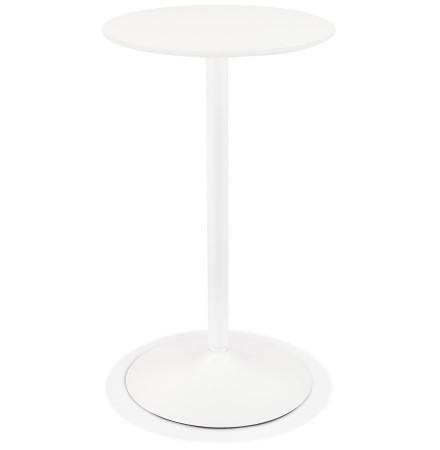 Ronde hoge tafel 'IDALGO' van hout en wit metaal - Ø 60 cm