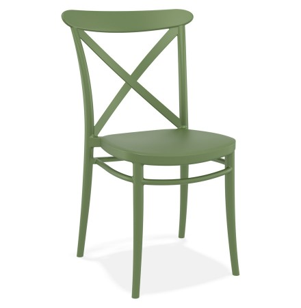 Retro stapelbare stoel 'JACOB' van groene kunststof
