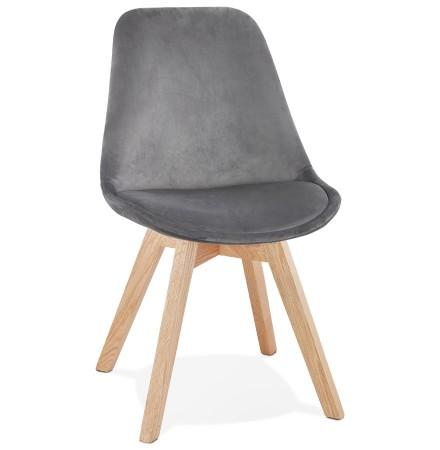 JOE' stoel in grijs fuweel met een structuur in natuurijk hout