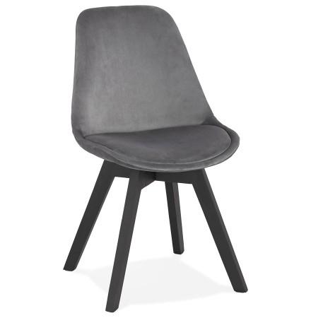 Stoel in grijs fluweel 'JOE' met structuur in zwart hout