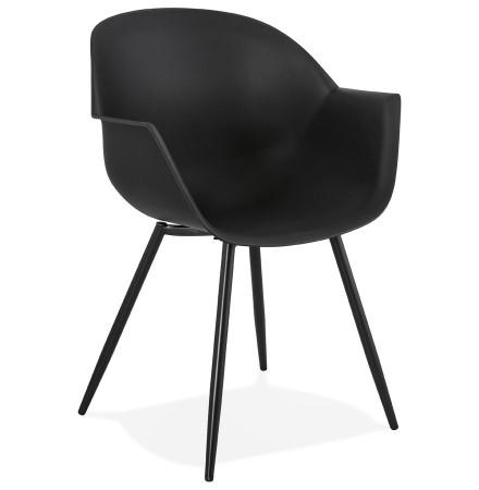 Zwarte designstoel met armleuningen 'KELLY'