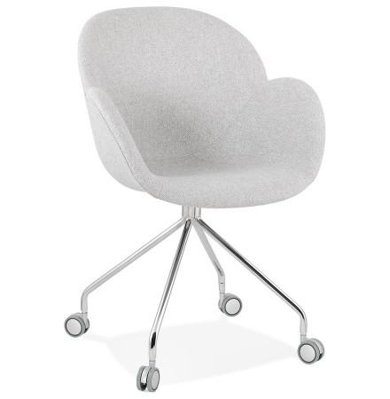 Comfortabele bureaustoel 'KEV' in lichtgrijze stof op wieltjes