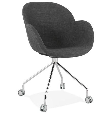 Comfortabele bureaustoel 'KEV' in donkergrijze stof op wieltjes