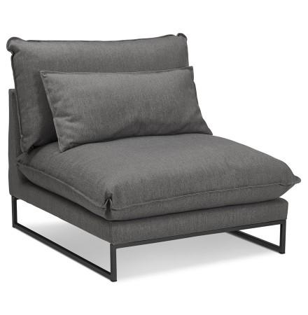 Grote loungefauteuil 'LASKA' van donkergrijze stof met 1 plaats