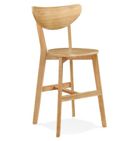 Halfhoge kruk 'LEONARDO MINI' van natuurlijk afgewerkt hout - bestel per 2 stuks / prijs voor 1 stuk