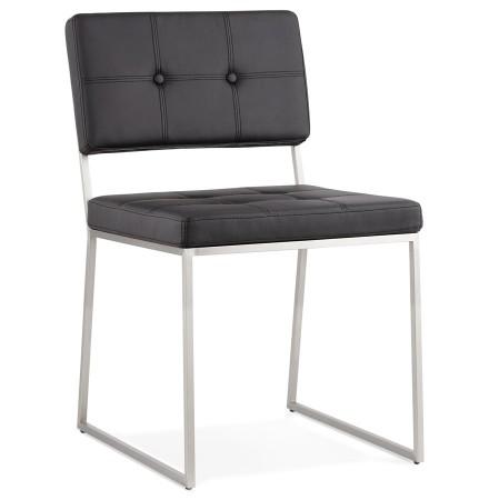Gecapitonneerde stoel LEON in zwart kunstleder - Alterego