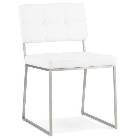 Gecapitonneerde stoel 'LEON' in wit kunstleder