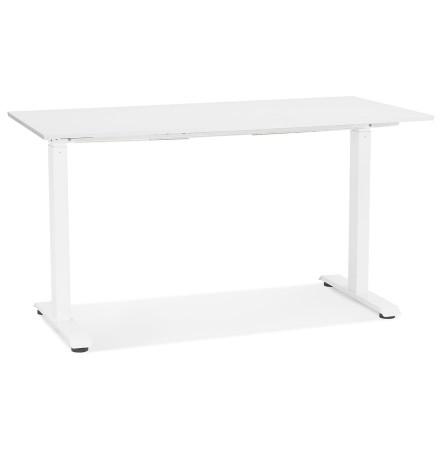 Rechte zit-/stabureau 'LIVELLO' van hout en wit metaal - 140x70 cm