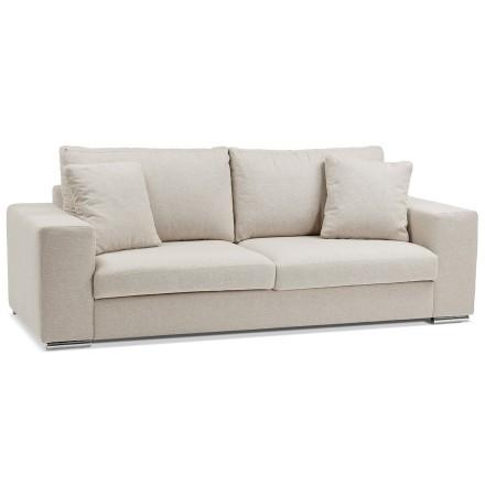 Rechte design canapé 'LUCA LARGE' in beige stof - Zitbank 2,5 plaatsen