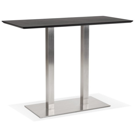 Zwarte hoge design tafel 'MAMBO BAR' met geborsteld metalen poot - 150x70 cm