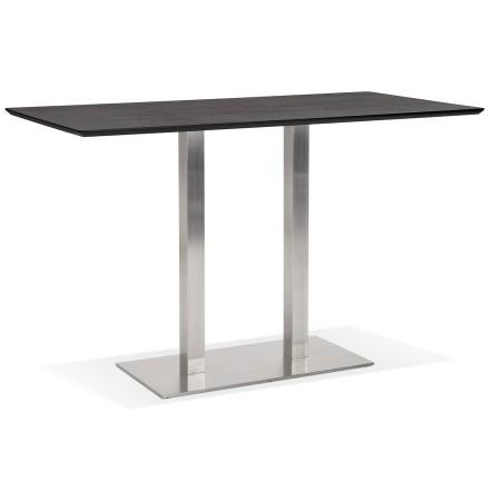 Zwarte hoge design tafel 'MAMBO BAR' met geborsteld metalen poot - 180x90 cm