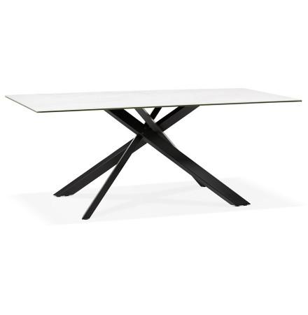 Eettafel 'MARKINA' in witte keramiek met zwarte x-vormige centrale voet - 180 x 90 cm