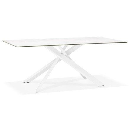 Eettafel 'MARKINA' in witte keramiek met witte x-vormige centrale voet - 180 x 90 cm