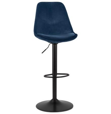 Tabouret réglable 'MIKE' en velours bleu et pied noir