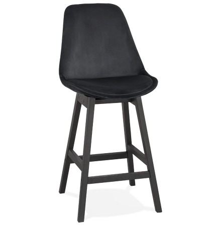 Halfhoge design barkruk 'MORISS MINI' in zwart fluweel en poten in zwart hout
