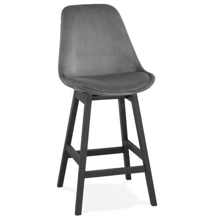 Halfhoge design barkruk 'MORISS MINI' in grijs fluweel en poten in zwart hout