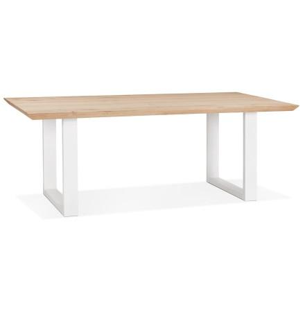 Eetkamertafel 'NATURA' van massief eikenhout met witte metalen poten - 200x100 cm