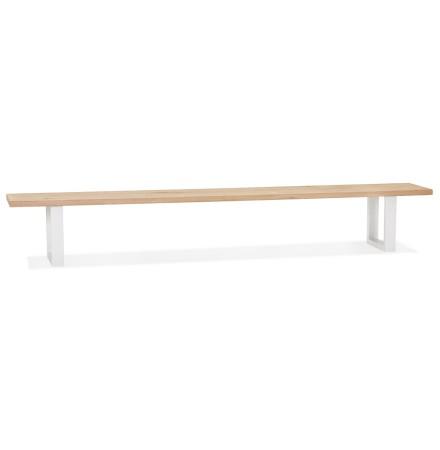 Designbank 'NATURA BENCH' in massief hout en wit metaal - 300 cm