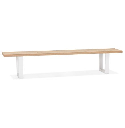 Designbank 'NATURA BENCH' in massief hout en wit metaal - 200 cm