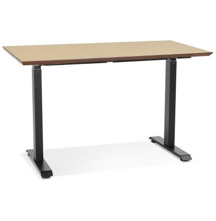 In hoogte verstelbare kleine bureau 'NOVELLA' van natuurkleurig afgewerkte hout en zwart metaal - 130x70 cm
