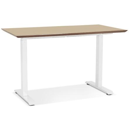 In hoogte verstelbare kleine bureau 'NOVELLA' van natuurkleurig afgewerkte hout en wit metaal - 130x70 cm