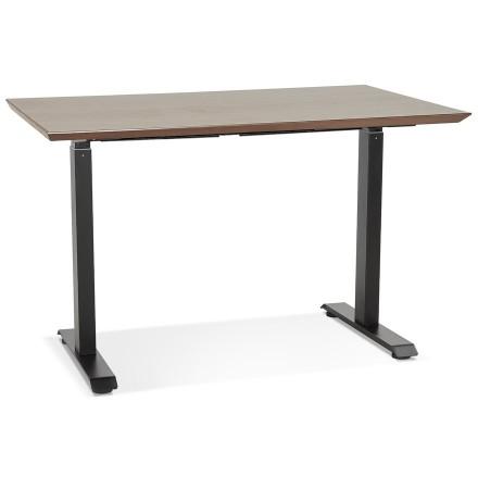 In hoogte verstelbare bureau 'NOVELLA' met notenhouten afwerking en zwart metaal - 150x70 cm