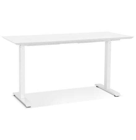 In hoogte verstelbare bureau 'NOVELLA' van hout en wit metaal - 150x70 cm